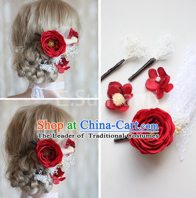 Top Grade Handmade Wedding Bride Hair Accessories Red Flowers Hair Clips Complete Set, Traditional Princess Baroque Hair Stick Headpiece for Women