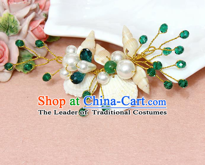 Top Grade Handmade Wedding Bride Hair Accessories Pearl Shell Hair Claws, Traditional Princess Baroque Green Beads Hair Stick Headpiece for Women