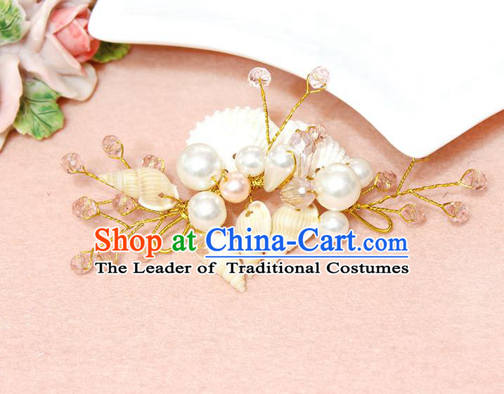 Top Grade Handmade Wedding Bride Hair Accessories Pearl Shell Hair Claws, Traditional Princess Baroque Pink Beads Hair Stick Headpiece for Women