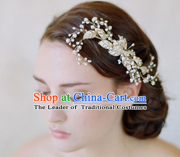 Top Grade Handmade Wedding Bride Hair Accessories Crystal Headband, Traditional Princess Baroque Hair Clips Headpiece Hair Combs for Women
