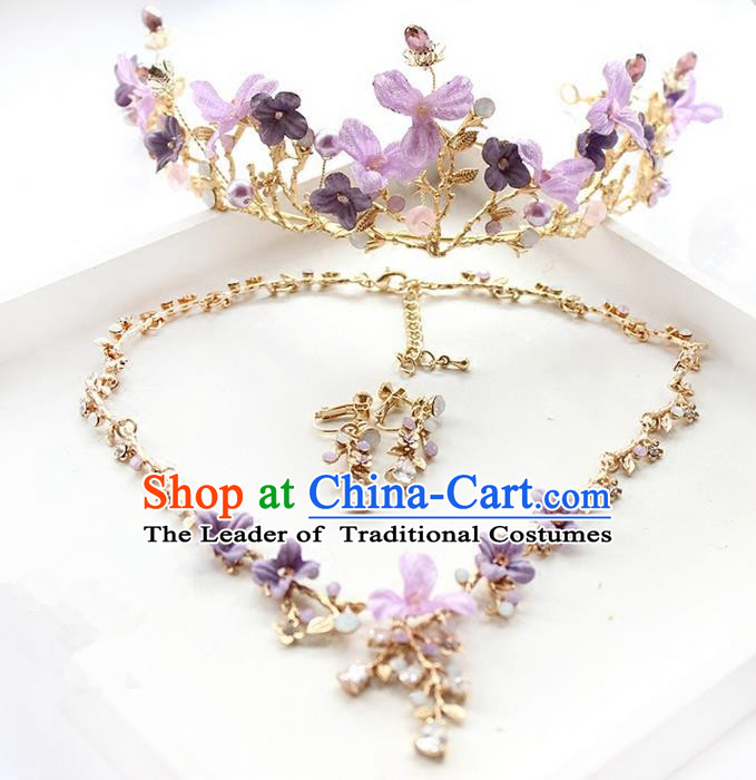 Top Grade Handmade Wedding Hair Accessories Bride Luxury Purple Flowers Crown and Necklace Earrings Complete Set, Traditional Baroque Royal Crown Wedding Headwear for Women