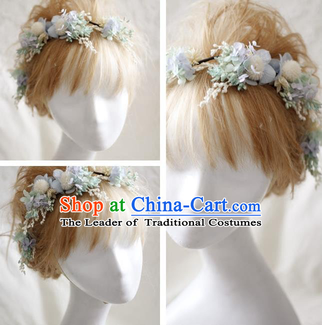 Top Grade Handmade Wedding Bride Hair Accessories Light Blue Flowers Headwear, Traditional Princess Baroque Hair Stick Headpiece Hairpins Complete Set for Women