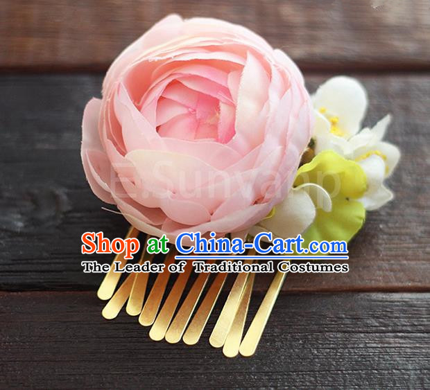 Top Grade Handmade Wedding Bride Hair Accessories Pink Rose Hair Claw, Traditional Princess Baroque Hair Stick Headpiece Hairpins for Women