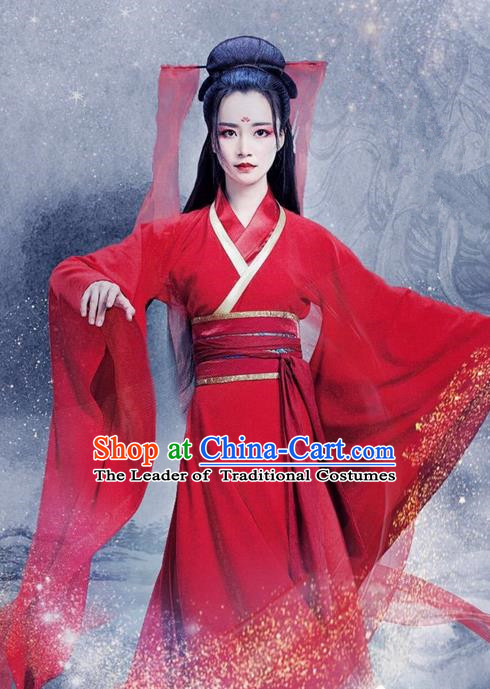 Traditional Ancient Chinese Swordswoman Costume and Handmade Headpiece Complete Set, Elegant Hanfu Clothing Chinese Young Lady Red Dress Clothing