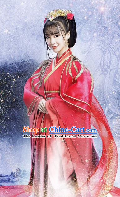 Traditional Ancient Chinese Imperial Princess Wedding Costume and Handmade Headpiece Complete Set, Elegant Hanfu Clothing Chinese Bride Embroidered Dress Clothing