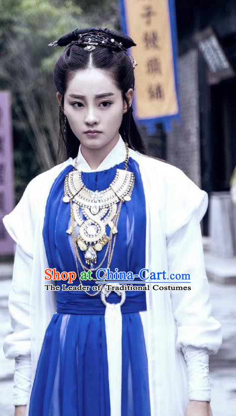 Traditional Ancient Chinese Young Lady Costume and Handmade Headpiece Complete Set, Elegant Hanfu Clothing Chinese Swordswoman Dress Clothing