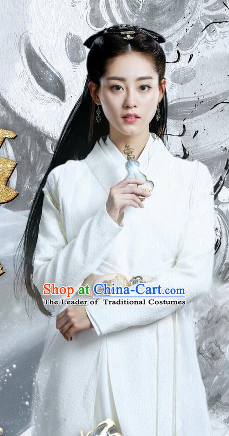 Traditional Ancient Chinese Nobility Lady Costume and Handmade Headpiece Complete Set, Elegant Hanfu Clothing Chinese Princess Dress Clothing