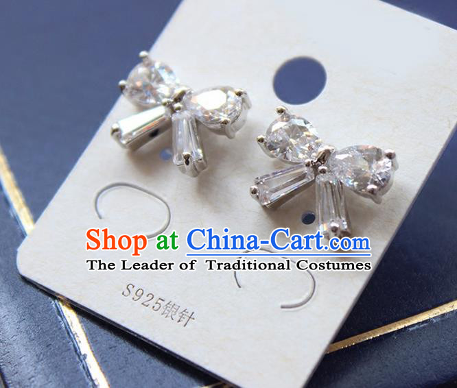 Top Grade Handmade China Wedding Bride Accessories Bowknot Earrings, Traditional Princess Wedding Crystal Earbob Jewelry for Women