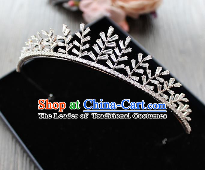 Top Grade Handmade Wedding Hair Accessories Bride Zircon Crown, Traditional Baroque Princess Crystal Leaves Royal Crown Wedding Headwear for Women