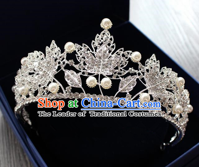 Top Grade Handmade Wedding Hair Accessories Bride Pearl Maple Leaf Crown, Traditional Baroque Princess Crystal Royal Crown Wedding Headwear for Women