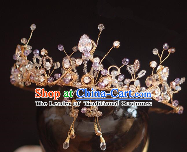 Top Grade Handmade Wedding Hair Accessories Bride Zircon Crown and Earrings, Traditional Baroque Princess Crystal Royal Crown Wedding Headwear for Women