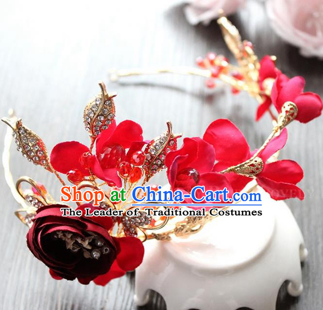 Top Grade Handmade Wedding Bride Hair Accessories Red Hair Clasp, Traditional Princess Baroque Headband Headpiece for Women
