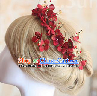 Top Grade Handmade Wedding Bride Hair Accessories Red Hair Stick, Traditional Princess Baroque Hair Clasp Headpiece for Women