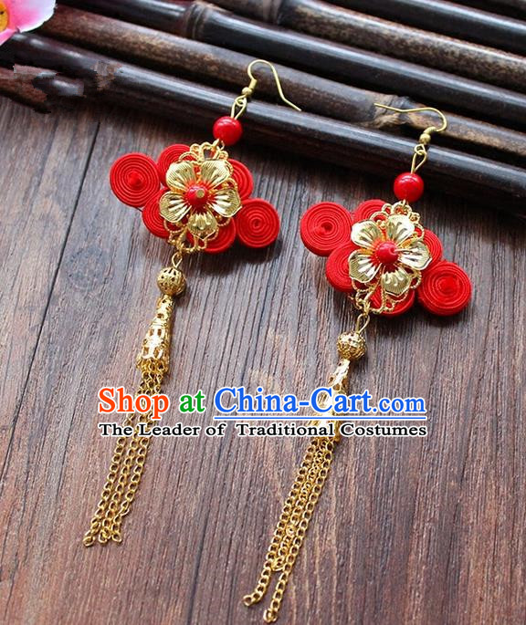 Top Grade Handmade China Wedding Bride Accessories Chinese Knot Earrings, Traditional Princess Wedding Xiuhe Suit Red Eardrop Jewelry for Women
