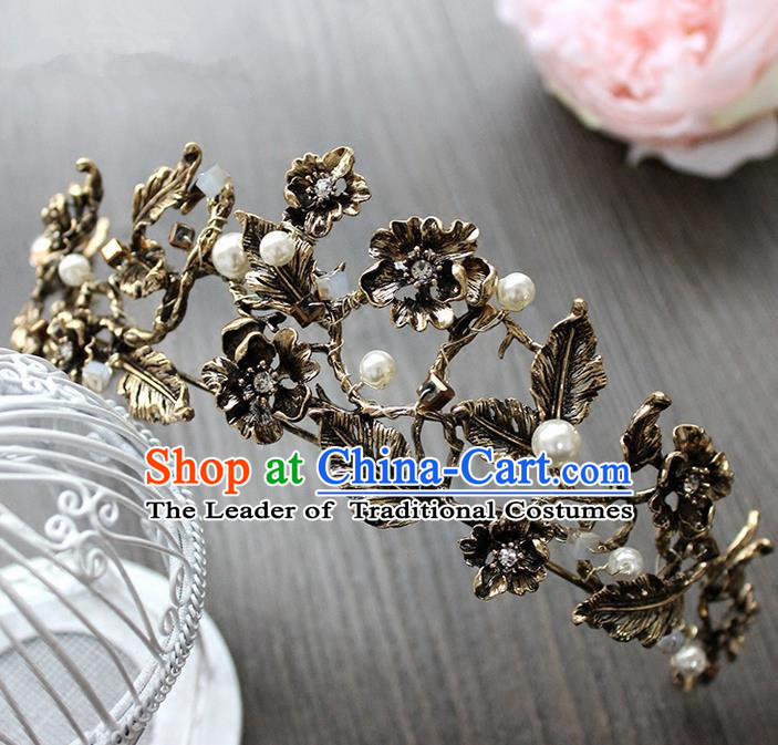 Top Grade Handmade Wedding Hair Accessories Bride Vintage Black Crown, Traditional Gothic Princess Crystal Royal Crown Wedding Headwear for Women