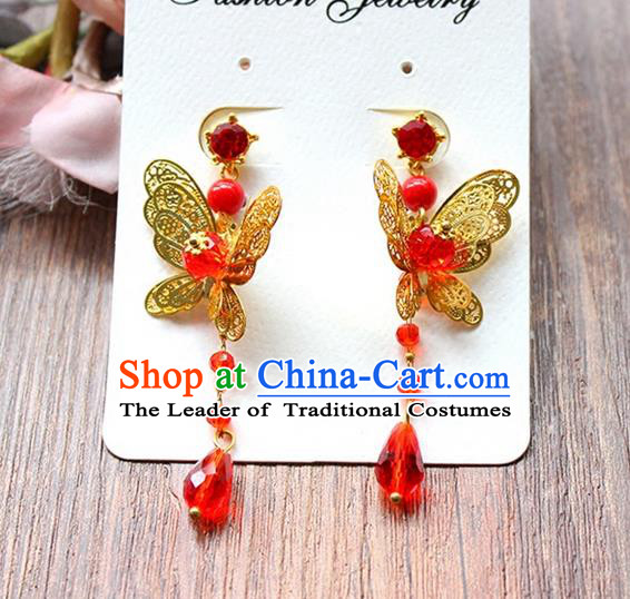 Top Grade Handmade China Wedding Bride Accessories Butterfly Earrings, Traditional Princess Wedding Xiuhe Suit Red Bead Eardrop Jewelry for Women