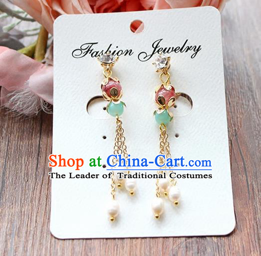 Top Grade Handmade China Wedding Bride Accessories Earrings, Traditional Princess Wedding Xiuhe Suit Tassel Eardrop Jewelry for Women