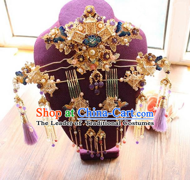 Top Grade Chinese Handmade Wedding Hair Accessories Tassel Step Shake Complete Set, Traditional China Xiuhe Suit Phoenix Coronet Bride Hairpins Headdress for Women