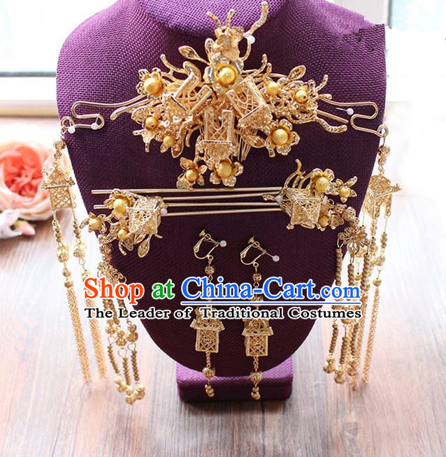 Top Grade Chinese Handmade Wedding Hair Accessories Tassel Step Shake Complete Set, Traditional China Xiuhe Suit Golden Phoenix Coronet Bride Hairpins Headdress for Women