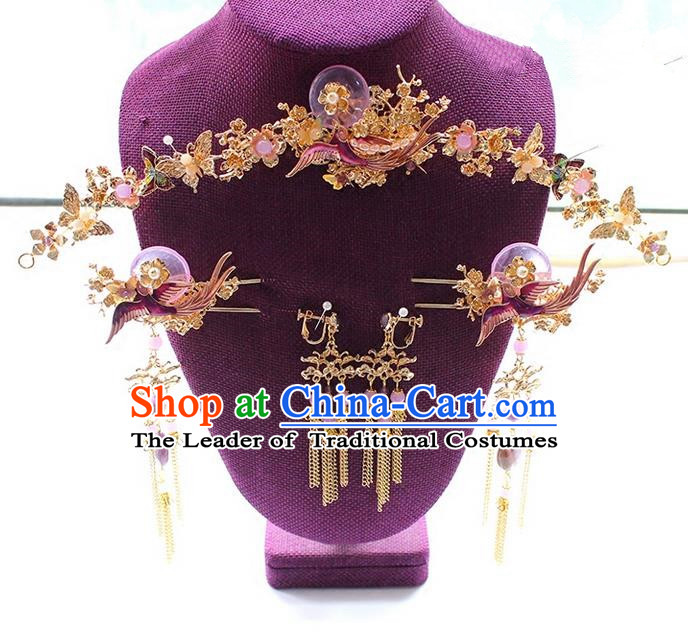 Top Grade Chinese Handmade Wedding Purple Jade Hair Accessories Complete Set Step Shake, Traditional China Xiuhe Suit Phoenix Crown Bride Tassel Hairpins Headdress for Women