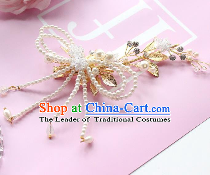 Top Grade Handmade Wedding Bride Hair Accessories Beads Hair Claw, Traditional Princess Baroque Pearl Hair Sticks Headpiece for Women
