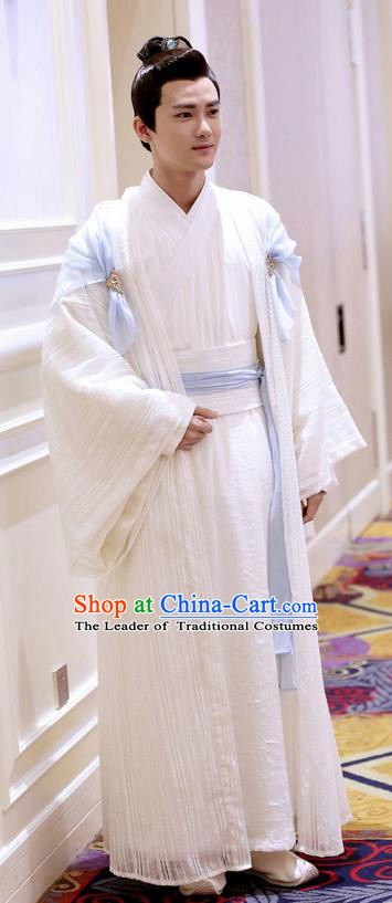 Traditional Ancient Chinese Imperial Prince Costume and Handmade Headpiece Complete Set, Elegant Hanfu Clothing Chinese Nobility Childe Clothing for Men
