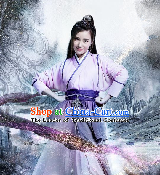 Traditional Ancient Chinese Swordswoman Costume and Handmade Headpiece Complete Set, Elegant Hanfu Clothing Chinese Jianghu Lady Dress Clothing for Women