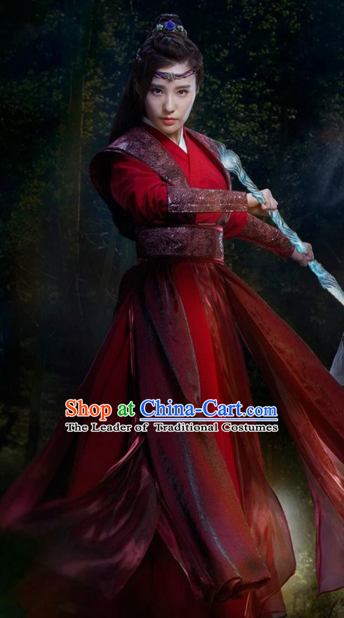 Traditional Ancient Chinese Chivalrous Women Costume and Handmade Headpiece Complete Set, Elegant Hanfu Clothing Chinese Jianghu Swordswoman Dress Clothing