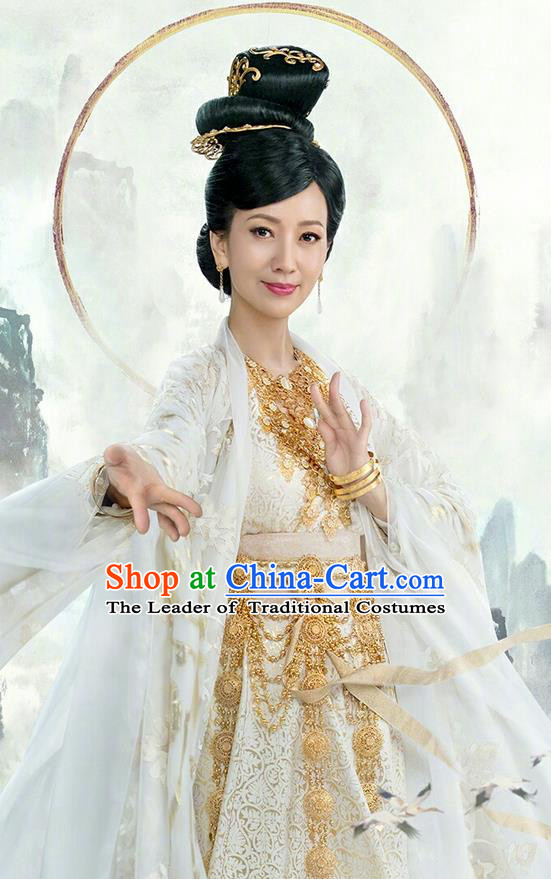 Traditional Ancient Chinese Cosplay Goddess of Mercy Costume and Handmade Headpiece Complete Set, Elegant Hanfu Clothing Chinese Madam White Snake Immortal Dress Clothing