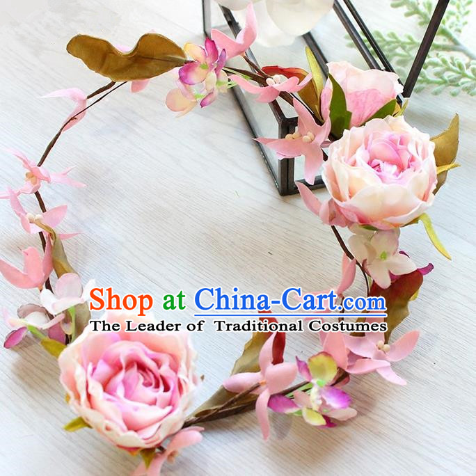Top Grade Handmade Wedding Bride Hair Accessories Pink Flowers Headband Garland, Traditional Princess Baroque Hair Clasp Headpiece for Women