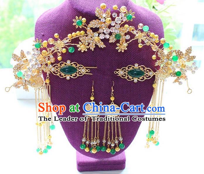 Top Grade Chinese Handmade Wedding Green Jade Hair Accessories Phoenix Coronet, Traditional China Xiuhe Suit Step Shake Bride Crystal Tassel Hairpins Headdress Complete Set for Women