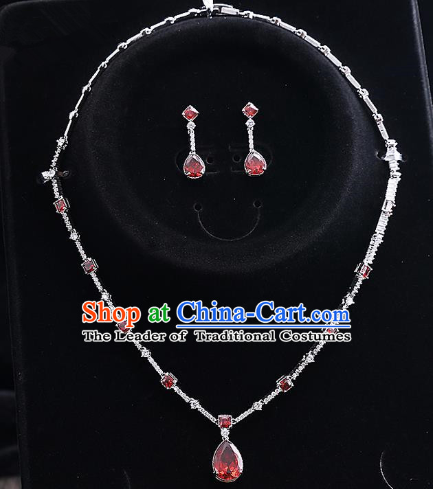 Top Grade Handmade China Wedding Bride Accessories Red Zircon Necklace and Earrings, Traditional Princess Crystal Wedding Eardrop Jewelry for Women