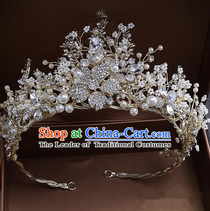 Top Grade Handmade Wedding Hair Accessories Bride Vintage Beads Crown, Traditional Baroque Queen Pearl Royal Crown Wedding Headwear for Women