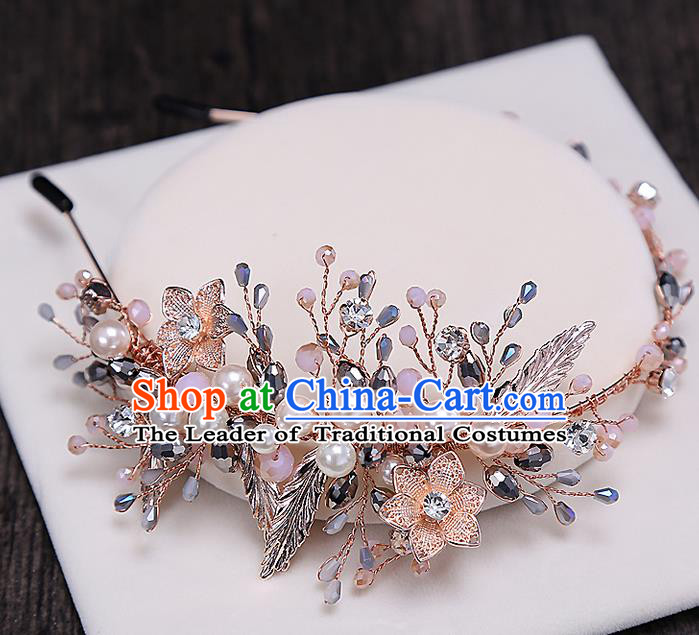 Top Grade Handmade Wedding Bride Hair Accessories Pink Beads Hair Clip Hairpins, Traditional Baroque Princess Hair Clasp Pearl Headband Headpiece for Women