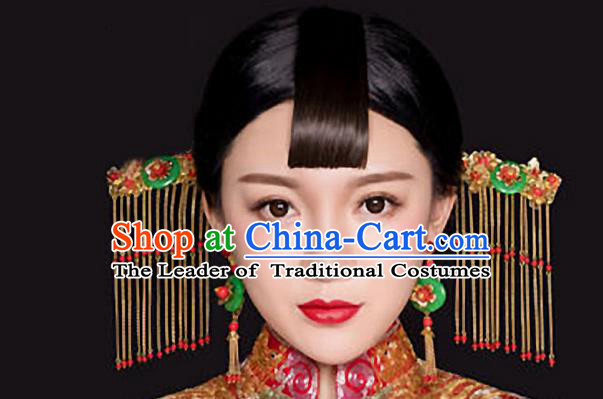 Top Grade Chinese Handmade Wedding Hair Accessories Hair Comb, Traditional China Xiuhe Suit Bride Step Shake Tassel Hairpins Headdress for Women