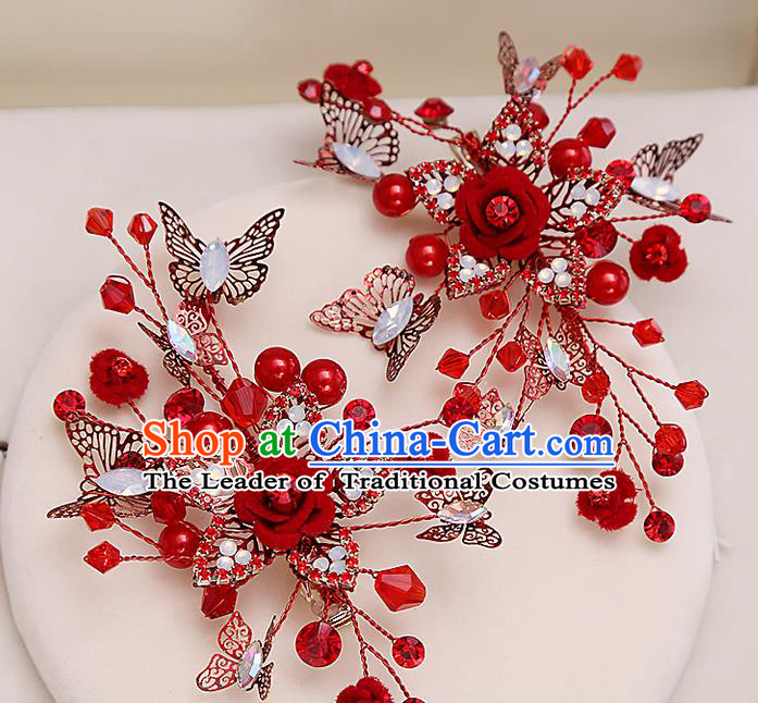 Top Grade Handmade Wedding Bride Hair Accessories Red Hair Claw, Traditional Princess Baroque Hair Stick Headpiece for Women