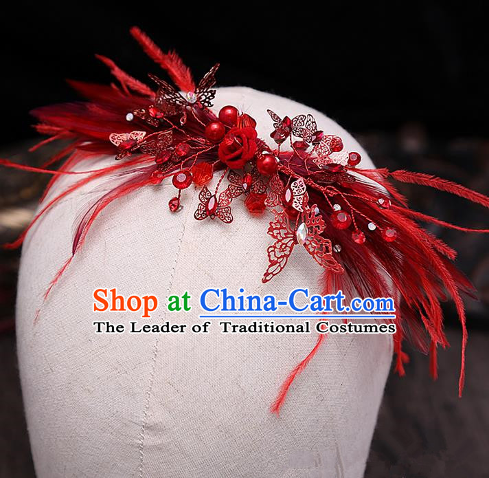 Top Grade Handmade Wedding Bride Hair Accessories Red Feather Headband Hair Claw, Traditional Baroque Princess Butterfly Hair Stick Headpiece for Women