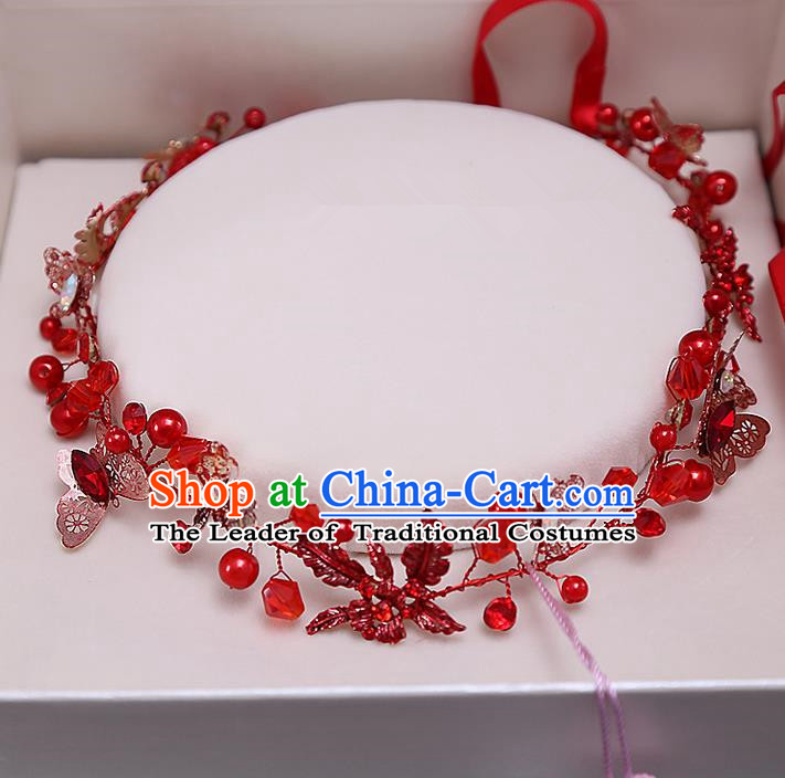 Top Grade Handmade Wedding Bride Hair Accessories Red Beads Headband Hair Clasp, Traditional Baroque Princess Hair Clip Headpiece for Women
