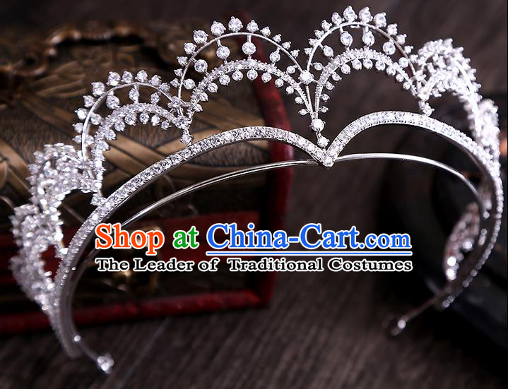 Top Grade Handmade Wedding Hair Accessories Bride Princess Zircon Crown, Traditional Baroque Queen Retro Crystal Royal Crown Wedding Headwear for Women