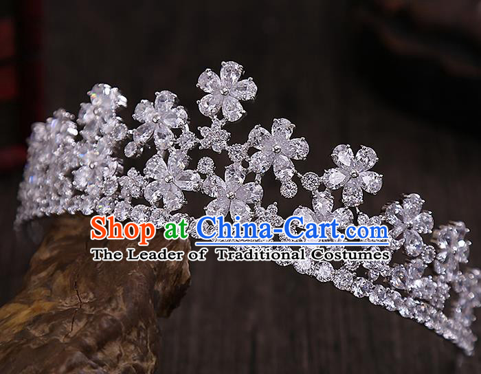 Top Grade Handmade Wedding Hair Accessories Bride Crystal Flowers Crown, Traditional Baroque Princess Zircon Royal Crown Wedding Headwear for Women