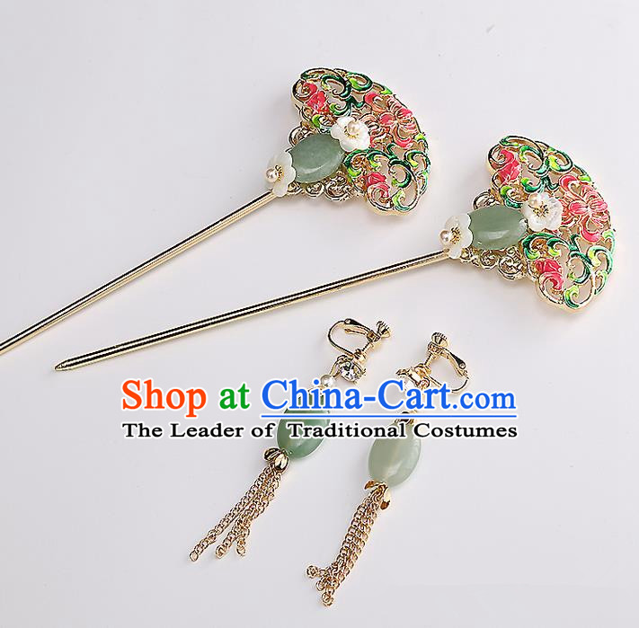 Top Grade Chinese Handmade Wedding Jade Hair Accessories and Earrings, Traditional China Xiuhe Suit Bride Hanfu Hairpins Headdress for Women