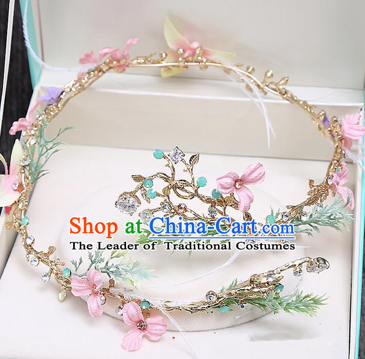 Top Grade Handmade Wedding Bride Hair Accessories Princess Flowers Hair Clasp Headband, Traditional Baroque Hair Claw Headband Headpiece for Women