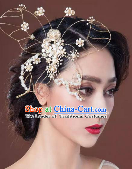 Top Grade Handmade Wedding Bride Hair Accessories Pearl Butterfly Hair Claw, Traditional Princess Baroque Hair Stick Headpiece for Women