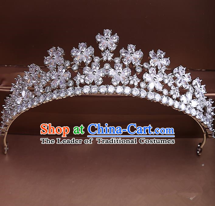 Top Grade Handmade Wedding Hair Accessories Bride Vintage Diamante Crown, Traditional Baroque Princess Crystal Zircon Royal Crown Wedding Headwear for Women