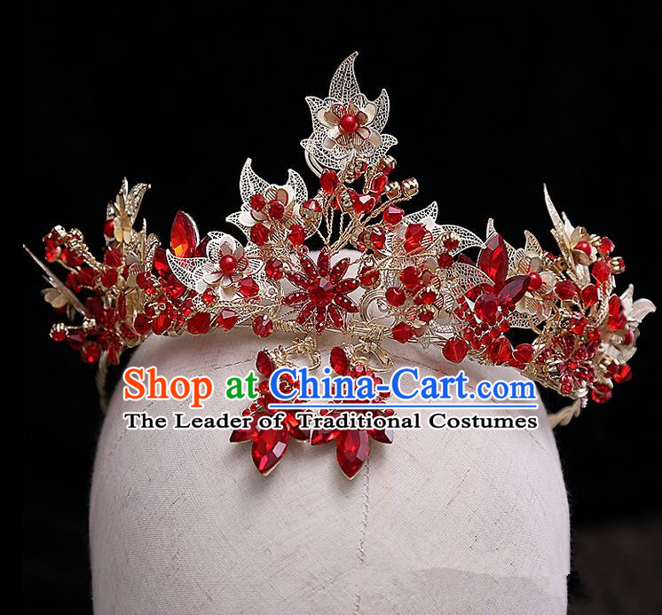 Top Grade Handmade Wedding Hair Accessories Bride Vintage Red Crown and Earrings, Traditional Baroque Princess Crystal Royal Crown Wedding Headwear for Women