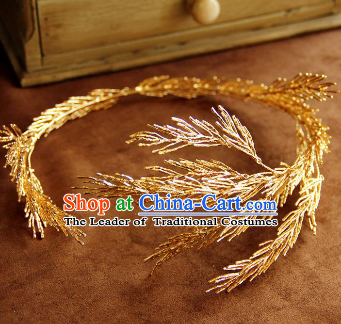 Top Grade Handmade Wedding Bride Hair Accessories Golden Headband Hair Crown, Traditional Baroque Princess Hair Clasp Headpiece for Women