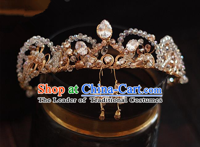 Top Grade Handmade Wedding Hair Accessories Bride Diamante Zircon Crown, Traditional Baroque Queen Crystal Royal Crown Wedding Headwear for Women