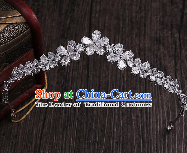 Top Grade Handmade Wedding Hair Accessories Bride Zircon Crown, Traditional Baroque Princess Crystal Royal Crown Wedding Headwear for Women