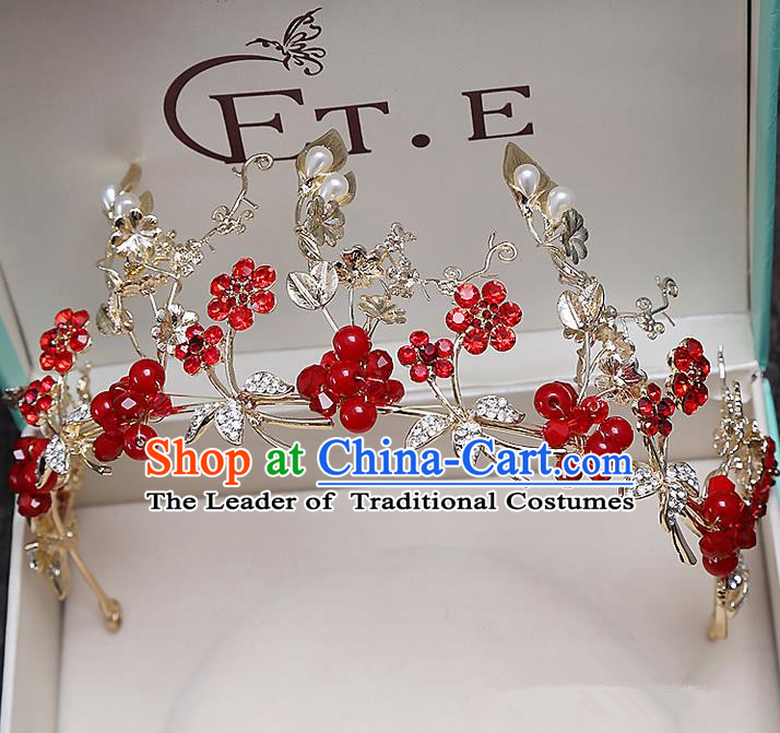 Top Grade Handmade Wedding Hair Accessories Bride Red Crown, Traditional Baroque Princess Crystal Royal Crown Wedding Headwear for Women