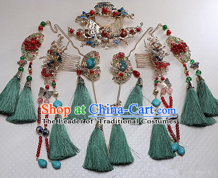 Top Grade Chinese Handmade Wedding Hair Accessories Phoenix Coronet Complete Set, Traditional China Xiuhe Suit Bride Step Shake Hanfu Tassel Hairpins Headdress for Women